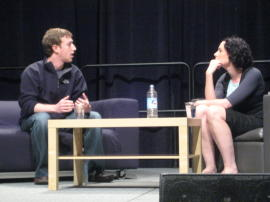 Sarah Lacy interviews Mark Zuckerberg at SXSW (c|net image)