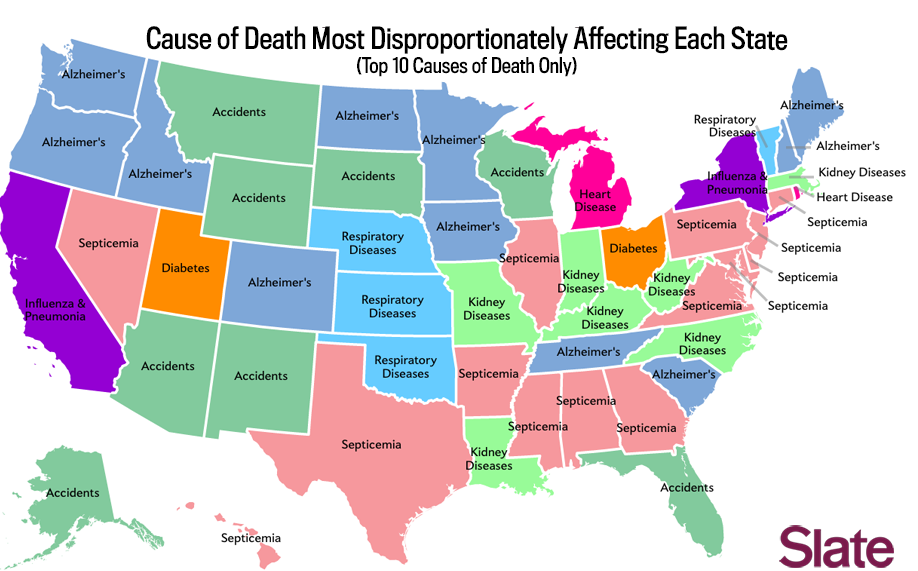 CDC Poses Pretty Pictures In Ugly Maps Persuasion Blog - Cdc cancer deaths 2013 map of us